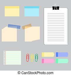 Paper banners with notes set attached with sticky colorful...