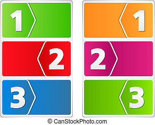 Paper banners with three steps, vector eps10 illustration