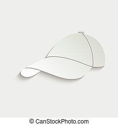 paper Baseball cap icon, hat icon vector