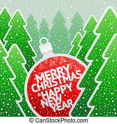 Paper bauble with holidays greeting - Vector Christmas...