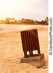 Paper bin in the Lanzarote beach