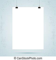Paper binder clip - Sheet of paper with binder clips. Grunge...