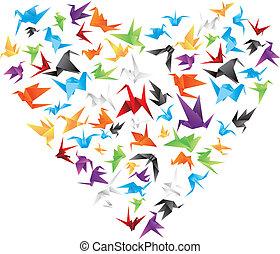 paper bird heart