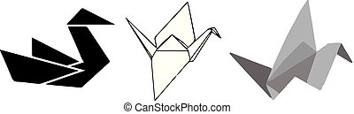 paper bird icon on white background