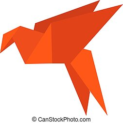 Paper bird, illustration, vector on white background.
