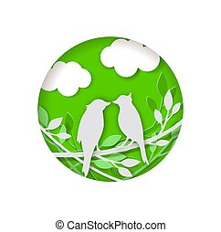 Paper bird on a green background