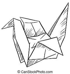Paper bird on white background