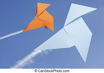 paper birds in the sky