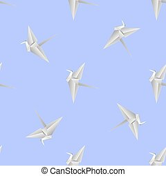 Paper Birds. Symbol of Peace. - Paper Birds Isolated on Blue...