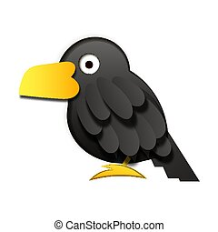 Paper black Raven on white background vector