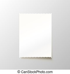 Paper blank cheque on the white background.