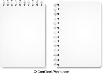 Paper blank notebooks, spiral notepads office equipment isolated on white vector illustration
