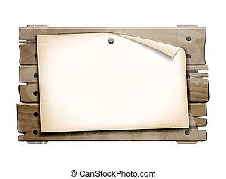 Paper blank on wooden board