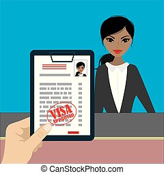 Paper blank - visa approved in hand and beauty woman