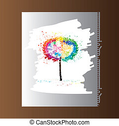Paper blank with a picture of colorful tree