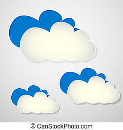 paper blue and white clouds on a gray background