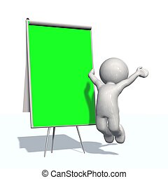 paper board with 3D People - green screen board