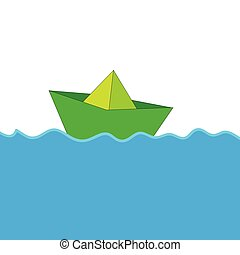paper boat at sea color vector