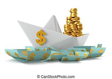 Paper boat dollars