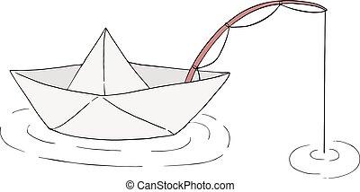 paper boat fishing illustration