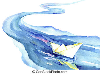 Paper boat floating in the water - Watercolor painting of...