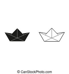 paper boat - green vector icon