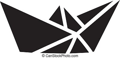 Paper Boat Icon In Flat Style Vector For Apps, UI, Websites. Black Icon Vector Illustration