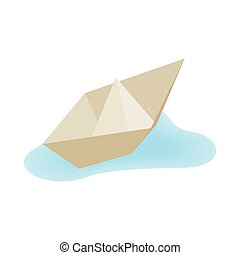 Paper boat icon, isometric 3d style