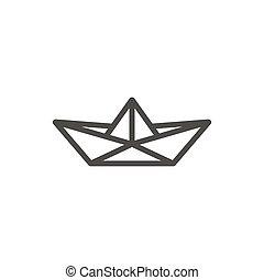 Paper boat icon vector. Line origamy symbol.