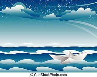 Paper Boat in the Sea