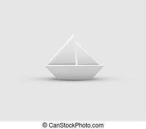 Paper boat isolated on gray background. Vector realistic design element.