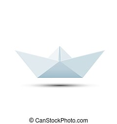 Paper boat isolated on white background.
