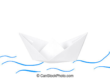 Paper boat isolated on white.