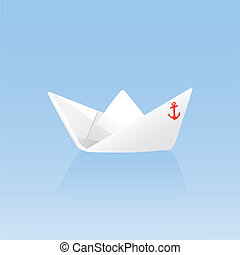Paper boat on a blue background