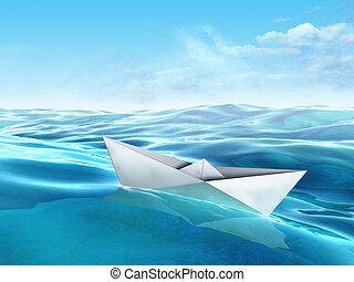 Origami paper boat floating in a sea. Digital illustration