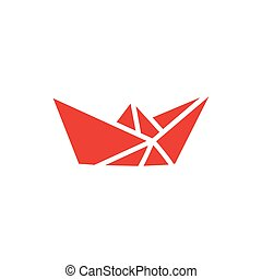 Paper Boat Red Icon On White Background. Red Flat Style Vector Illustration.