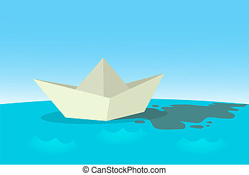 Paper boat sailing on blue water surface. Flat vector illustration, horizontal.
