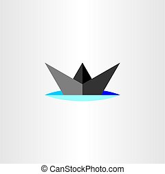 paper boat ship icon vector design