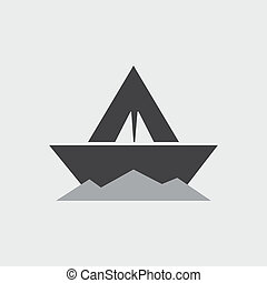 paper boat - vector icon
