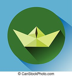 paper boat. vector illustration in flat style.