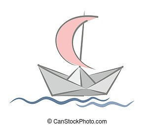 Paper boat with a sail.