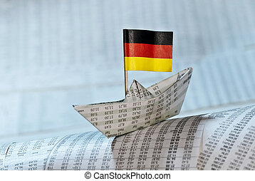 Paper boat with German flag