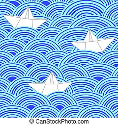 Paper boats in blue sea waves. Seamless vector pattern.