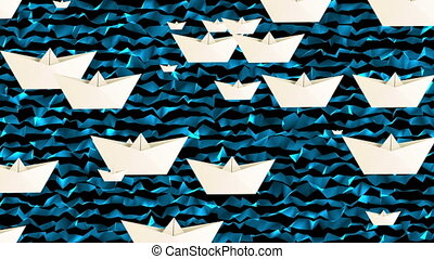 Paper boats on waves
