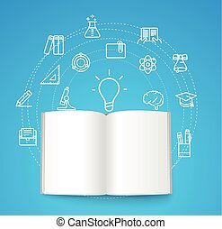 Paper book with different line icons. Education concept