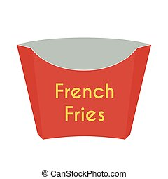 Paper box for french fries. Cartoon flat style. Vector illustration