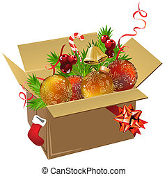 Paper box full of Christmas balls and decoration on white