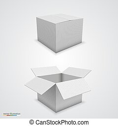 Paper box open and closed. Vector illustration