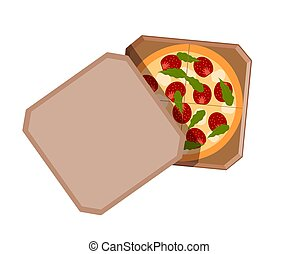 Paper box with pizza on a white background. Vector illustration