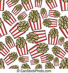 Paper boxes of french fries seamless pattern